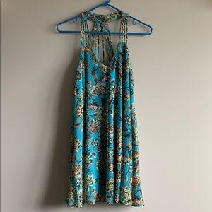 Blue Floral Flowy Dress